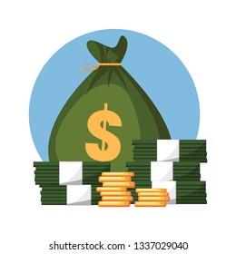 Full bag of money dollar banknotes cash on stack on white background vector illustration