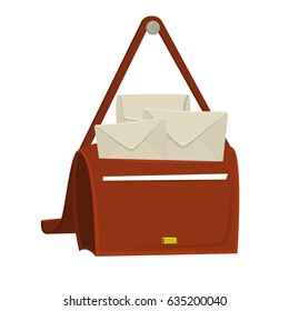Full bag of the postman with mail, post and paper sheet