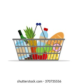 Full basket with different food. Supermarket shopping basket.  Flat vector icon. For card, web, icons, shops