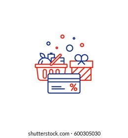 Full basket of food, grocery shopping purchase, special offer, bonus card, discount coupon, loyalty program gift, premium card vector line icon design