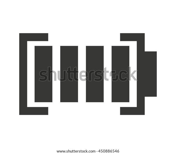 Full Battery Status Isolated Icon Design Stock Vector