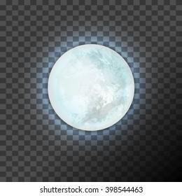 Full blue moon on the dark transparent background