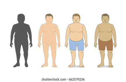 Full body fat man silhouette and cartoon in front view 4 style in collection. vector human standing posture isolated on white.