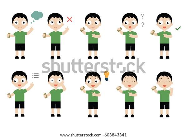 Full Body Flat Cartoon Character Design Stock Vector Royalty Free 603843341
