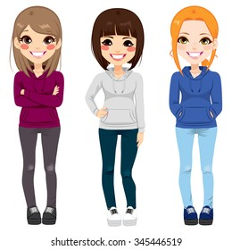 Full body illustration of three happy young teenagers girls from different ethnicity smiling with casual outfit posing together