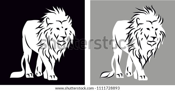 Full Body Lion Silhouette Black Gray Stock Vector Royalty