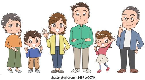 Full body portrait of a family of six