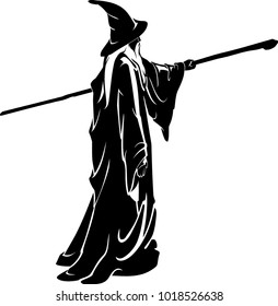 Full Body Wizard Silhouette