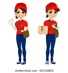 Full body young post woman delivering mail and parcel with leather bag and folder wearing red uniform