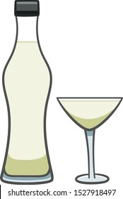 Full bottle and glass with martini isolated
