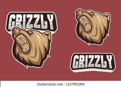 full branding grizzly bear mascot logo vector illustration set