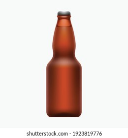full brown beer bottle isolated on white
