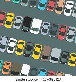 Full car park vector. Parked cars vector illustration.