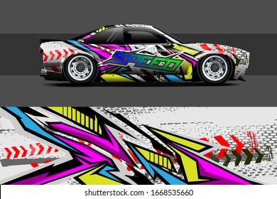 full car wrap design. abstract, bold and aggressive graphic