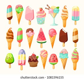 Full Cartoon Ice cream collection of summer delicious in flat style. 21 tasty colorful sundaes, gelatos isolated on white background. Vector illustration.