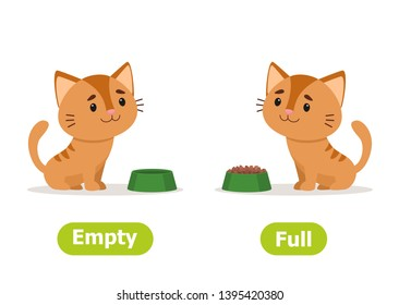 Сat with a full cat bowl and with an empty. Illustration of opposites many and few. Card for teaching aid, for a foreign language learning. Vector illustration on white background, cartoon style.