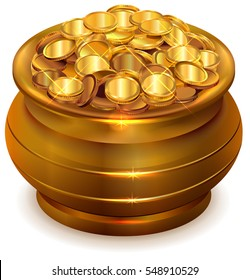 Full ceramic pot with gold coins. Isolated on white vector illustration