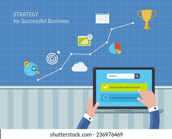 Full circle of concept consulting services including market research and data analysis. Vector illustration icons set of strategy for successful business and strategic planning
