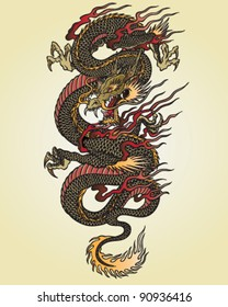 Full Color Asian Dragon Tattoo Illustration