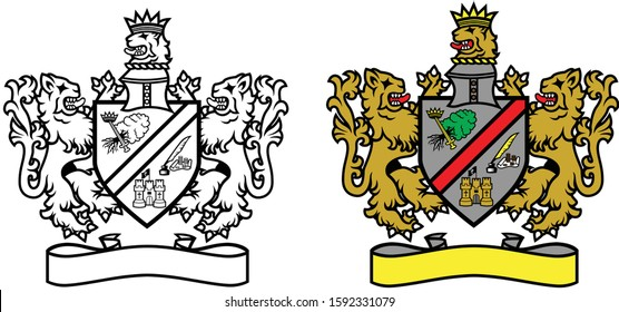 Full color and black and white set of traditional vector illustrated royal heraldry crests or coat of arms badges with shields and blank banner scrolls graphic design logo template easy to edit