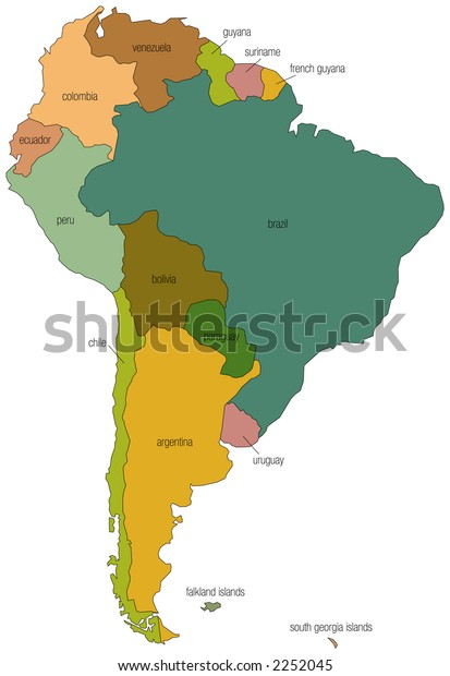 Full Color Map South America Country Stock Vector (Royalty Free) 2252045