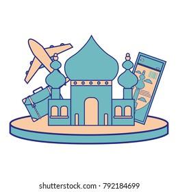 full color taj mahal of india and travel ticket