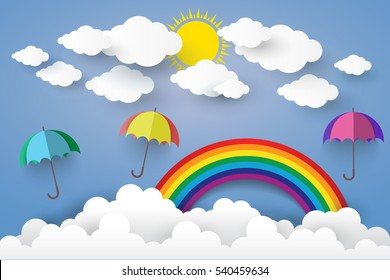 Full Color Umbrella with Cloud  Paper art Style.vector  illustration