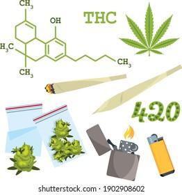 Vollfarbige Vektorgrafik. Sativa-Stämme von Marihuana und chemischen Verbindungen Formeln.  Psychoaktive Cannabis-Feier. Gelenk und Knospen.