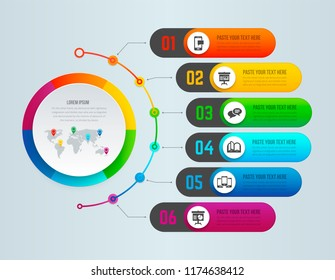 Full color vector infographic. Six from one.