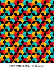 Full color Vector seamless pattern. Modern stylish texture. Repeating geometric pattern tiles with staggered hexagon.