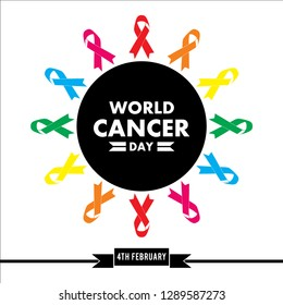 full color World cancer day concept. 4thFebruary , World cancer day lettering banner, We can I can. Vector illustration of World Cancer Day with ribbon and text on white background.