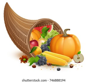 Full cornucopia for Thanksgiving feast day. Rich harvest of pumpkin, apple, corn, grapes, watermelon. Isolated on white vector illustration