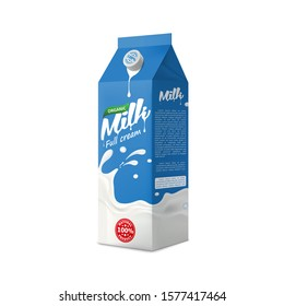 Full cream Milk packaging carton design mock-up. Beverage product pure vector illustration for ads and product desing