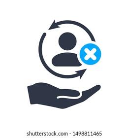 Full customer care service icon with cancel sign, close, delete, remove symbol