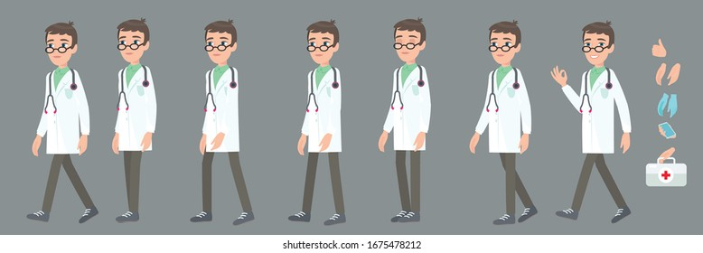 Full cycle animation walking doctor. Young professor of medicine or nurse, a character for the animation. Poses in cartoon style.