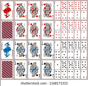 Full deck. 52 playing cards plus two cards jokers.