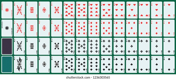 Full deck. 52 playing cards plus two cards jokers. Simple minimalist design.