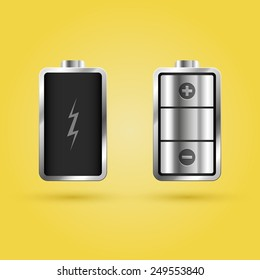 Full and Empty Battery. Vector illustration