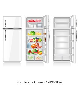 Full and empty fridge isolated on white photo-realistic vector illustration
