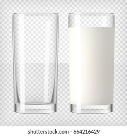 Full and empty milk glasses. Transparent photo realistic vector illustration.