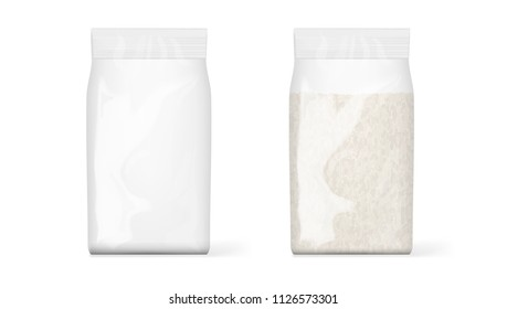 Full And Empty Transparent Plastic Bag Packaging Of Rice. EPS10 Vector
