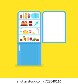 Full of food opened refrigerator. Fridge and fruit and vegetable. Flat vector illustration.