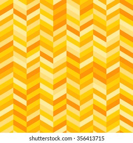 Full Frame Abstract Background in Square Format - Zig Zag Pattern in Shades of Yellow and Orange Arranged in Columns Creating Illusion