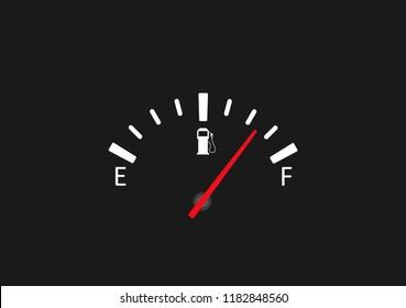 Full fuel gauge icon. Vector illustration