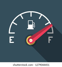 Full Fuel Icon. Vector Flat Design Gasoline Dashboard Symbol.