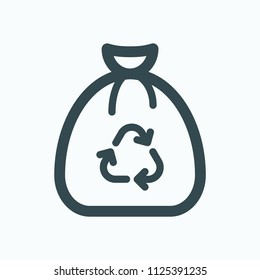 Full garbage bag with recycle symbol vector icon