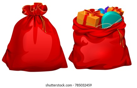 Full gift open and closed santa claus red bag. Isolated on white vector cartoon illustration