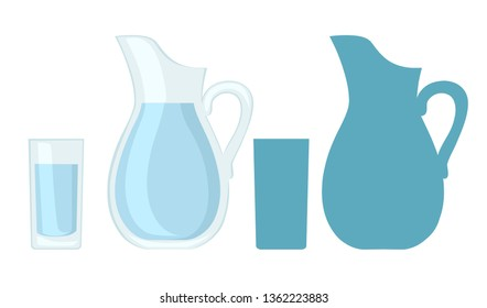 Full glass and jug of water. Flat vector design and blue silhouette. Vector illustration isolated on white background.