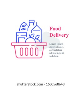 Full grocery basket, supermarket special offer, food purchase and delivery, consumption concept, vector line icon