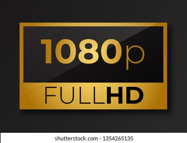 Full hd 1080p golden symbol . Fullhd icon .